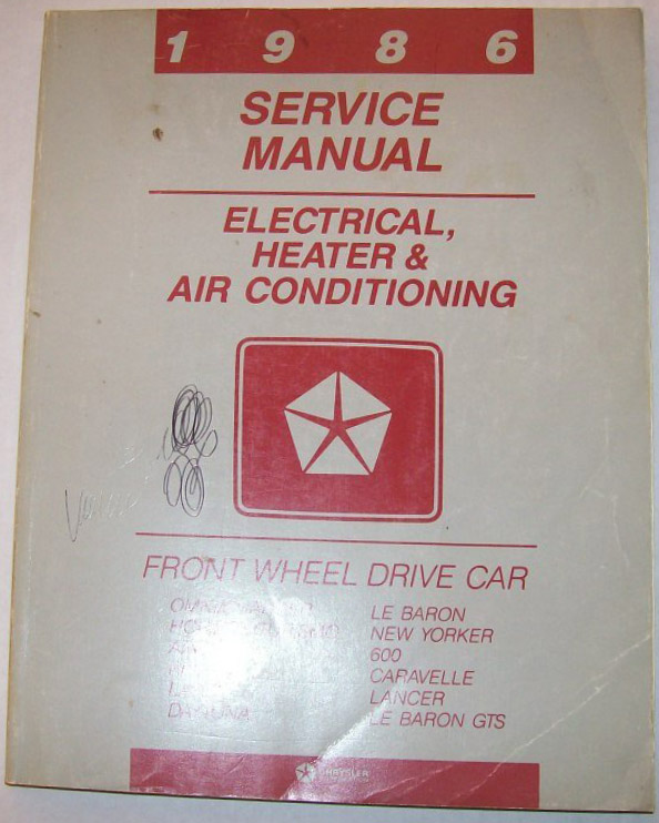 Image for 1986 Service Manual Electrical Heater & Air Conditioning; Front Wheel Drive Car Chryslers